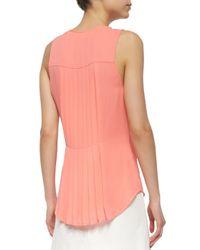 Veronica Beard - Pink Sleeveless Silk Pintuck Blouse - Lyst