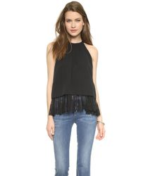 OTTE New York - Layered Lace Halter Blouse - Black - Lyst