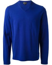 Emporio Armani | Blue Vneck Sweater for Men | Lyst