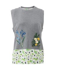Stella McCartney | Gray Embroidered Flower Tank | Lyst
