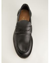 Valentino - Black Textured Loafers for Men - Lyst