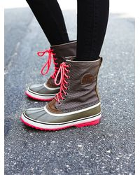 Free People | Gray Sorel Womens 1964 Canvas Weather Boot | Lyst