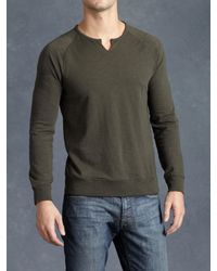 John Varvatos | Green Cotton Raglan Sweatshirt for Men | Lyst