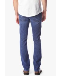 7 For All Mankind Blue Luxe Performance: Slimmy Slim Straight Leg In Shoreline for men