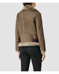 AllSaints - Brown Emerson Leather Biker Jacket - Lyst