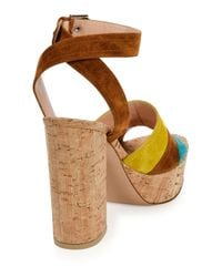Gianvito Rossi - Brown Color-Blocked Suede Sandals - Lyst