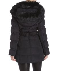 Laundry by Shelli Segal - Black Faux Fur Trim Belted Coat - Lyst
