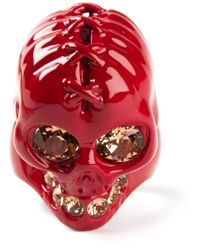 Alexander McQueen - Red Embellished Ring for Men - Lyst