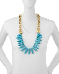 Devon Leigh | Blue Turquoise Spike Long Necklace | Lyst