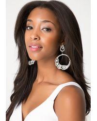 Bebe - Metallic Teardrop Hoop Earrings - Lyst