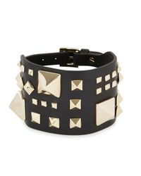 Valentino | Metallic Rockstud Large Black Leather Cuff | Lyst