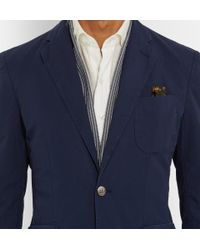 Hardy Amies | Blue Navy Slim-Fit Unstructured Stretch-Cotton Jacket for Men | Lyst
