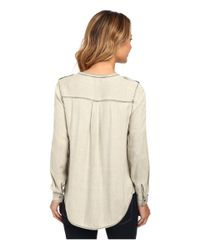 Two By Vince Camuto | Natural Long Sleeve Pastel Fade Collarless Utility Shirt | Lyst