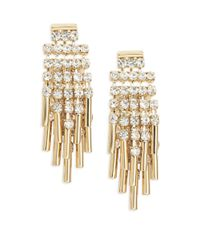ABS By Allen Schwartz | Metallic Rhinestone Cluster Earrings | Lyst