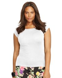 Lauren by Ralph Lauren - White Plus Cotton Cap Sleeve Top - Lyst