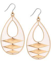 Lucky Brand | Metallic Gold-tone White Enamel Drop Earrings | Lyst