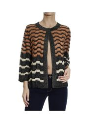 M Missoni - Black Metallic Striped Cardigan - Lyst