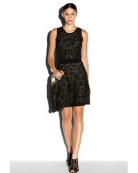MILLY - Black Lace Jacquard Flare Dress - Lyst