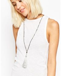 ASOS - Black Tassel Long Pendant Necklace - Lyst