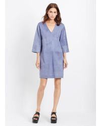Vince | Blue Suede Three Quarter Sleeve Shift Dress | Lyst