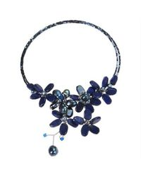 Aeravida | Blue Floral Triangle Stone And Pearl Choker Necklace | Lyst