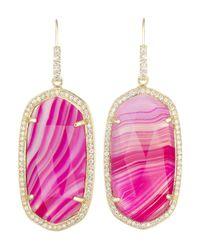 Kendra Scott Small Pave-Trim Pink Agate Drop Earrings