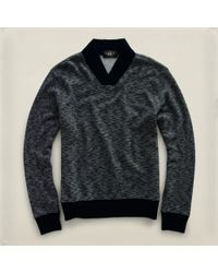 RRL | Gray Crossover Vneck Pullover for Men | Lyst