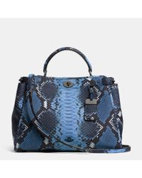 COACH | Blue Gramercy Satchel In Python Embossed Leather | Lyst