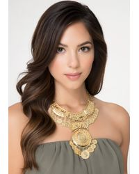 Bebe - Metallic Coin Medallion Bib Necklace - Lyst