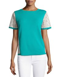 Lafayette 148 New York - Green Leather-trim Short-sleeve Sweater - Lyst