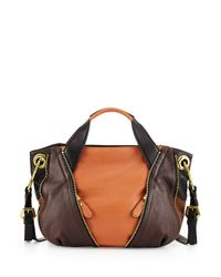 orYANY - Brown Lian Small Zip Leather Satchel Bag - Lyst