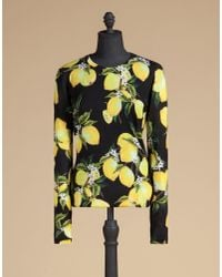 Dolce & Gabbana - Black Printed Crew Neck Sweater In Cashmere And Silk - Lyst