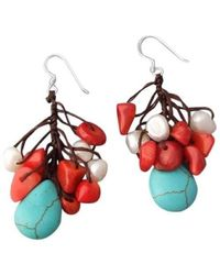 Aeravida | Multicolor Dangle Turquoise White Pearl .925 Silver Earrings | Lyst