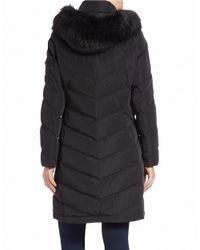 Calvin Klein | Black Faux Fur-trimmed Down Puffer Coat | Lyst