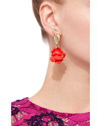 Oscar de la Renta - Red Orange Flower Clip On Earrings - Lyst