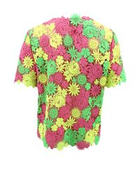Valentino | Green Short Sleeve Floral Embroidered Top | Lyst