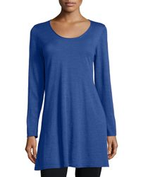 Eileen Fisher - Blue Long-sleeve A-line Jersey Tunic - Lyst