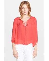 Parker | Red 'safara' Silk Blouse | Lyst