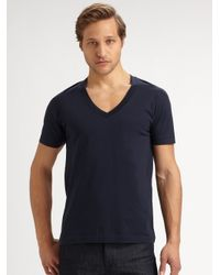 BLK DNM | Blue Vneck Cotton Tee for Men | Lyst