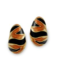 Kenneth Jay Lane | Multicolor Tiger Stripe Clip Earring | Lyst