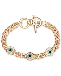 RACHEL Rachel Roy | Metallic Bracelet, Gold-Tone Evil Eye Charm Curb Chain Toggle Bracelet | Lyst