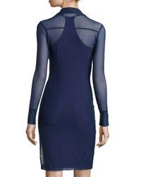 Anatomie   Blue Mona Long-sleeve Mesh Dress   Lyst