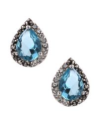 Judith Jack | Sterling Silvertone Blue Crystal Teardrop Stud Earrings | Lyst