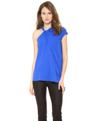 Yigal Azrouël | Blue Crepe Georgette Ruffled Top | Lyst