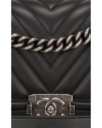 665bf7c0cba1 Lyst - Madison Avenue Couture Chanel Black Chevron Medium Boy Bag in ...