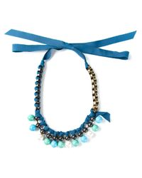 Lanvin - Blue Woven Ribbon And Chain Necklace - Lyst