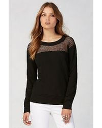 True Religion | Black Mesh Boyfriend Womens Pullover | Lyst