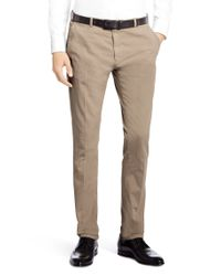 HUGO | Natural 'helgo-d' Cotton Blend, Regular Fit Chinos for Men | Lyst
