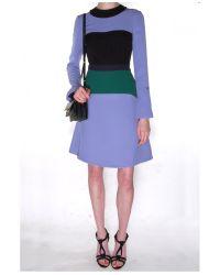 Marni - Purple Colorblock Long Sleeve Dress - Lyst