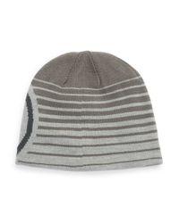 Under Armour | Gray Striped Logo Beanie for Men | Lyst